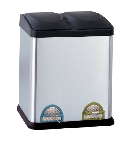 All Stainless Steel Step-On 8-Gallon( 30liter)  Recycle Bin (Divided Garbage Can compare prices)
