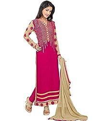 Dharmnandan Fashion Pink Gorgette& Crap Dress material