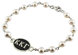 Buy Kappa Kappa Gamma Black Antiqued Sterling Silver Sorority Tin Cup Pearl Bracelet Jewelry by Collegiate Beads
