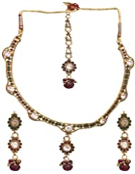 Exotic India Faux Ruby Necklace Set With Earrings Set And Mang Tika - Copper Alloy