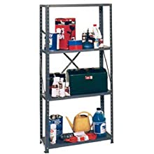 "Edsal VL430L Steel Medium Duty Shelving Unit, 30"" Width x 58"" Height x 12"" Depth"