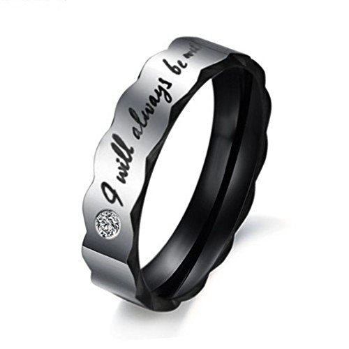 """Stainless Steel Love """"I Will Always Be With You"""" Couples Promise Rings (Ladies' Ring, 11)"""