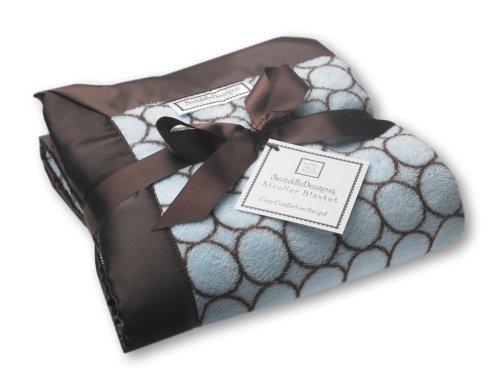 Swaddledesigns Stroller Blanket, Brown Mod Circles, Pastel Blue front-704540
