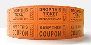 Orange Two Part Raffle Tickets - Roll of 1000