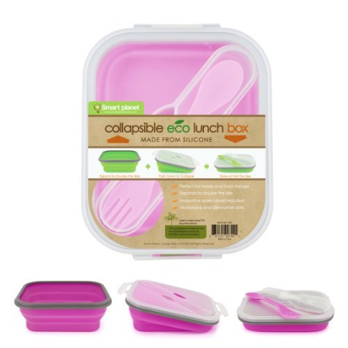 Smart Planet Ec-34 Small 1-Compartment Eco Silicone Collapsible Lunch Box, Pink