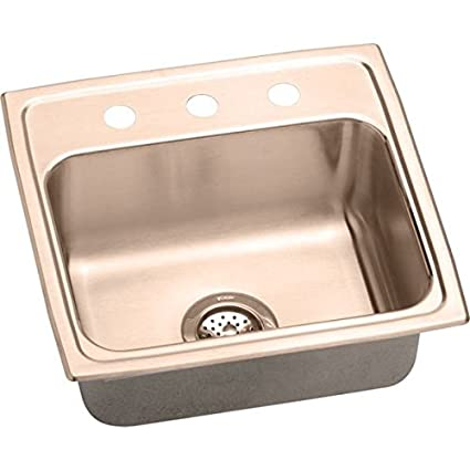 "Elkay DLR191910OS4-CU 18 Gauge Cuverro Antimicrobial Copper Single Bowl Top Mount Sink with 4 Faucet Holes, 19.5"" x 19"" x 10.125"""