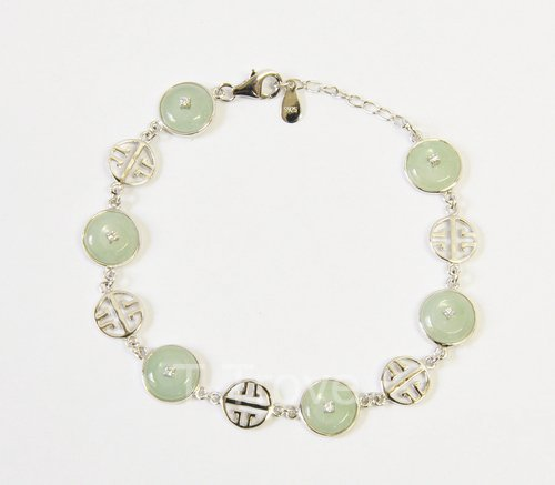 Sterling Silver And Green Jade Bracelet 8 Inches Round