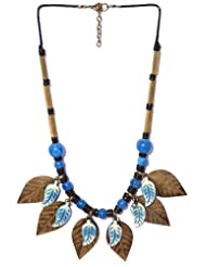 V3 Craft's Resin And Natural Acrylic Beads With Metal Leaves Necklace For Women