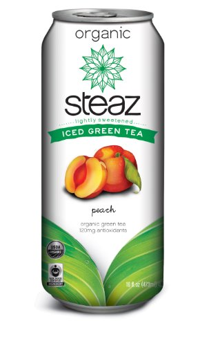 Steaz Iced Tea Can, Peach Green, Gluten Free, 16-ounces (Pack of12) (Canned Soda compare prices)