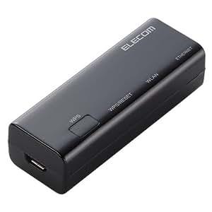 ELECOM WiFi 無線LANルーター ホテル用 11n/g/b 300Mbps コンパクト ブラック WRH-300BK2-S