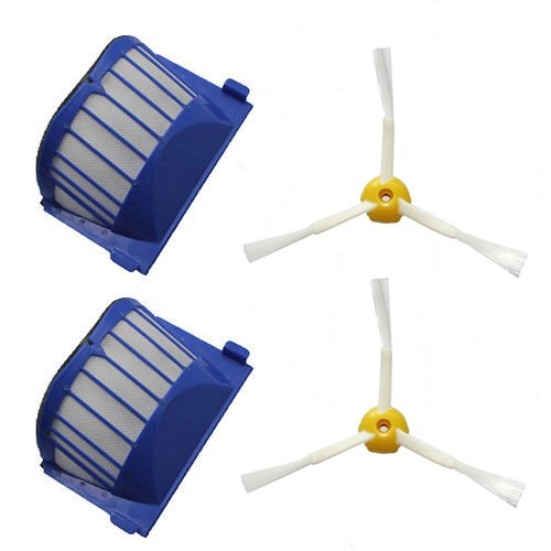 Shp-Zone 2 X Aero Vac Filter & 2 X Side Brush 3-Armed For Irobot Roomba 500 600 Series 536 550 551 552 564 620 630 650 660 Vacuum Cleaning Robots front-546242