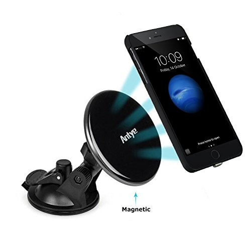 Antye Magnetic Qi Wireless Car Mount Charger for iPhone 7 PLUS (2016), Dashboard Suction Cup Holder Charging Cradle, with Flexible Wireless Charging Receiver Case Matte Finish Back Cover, Black