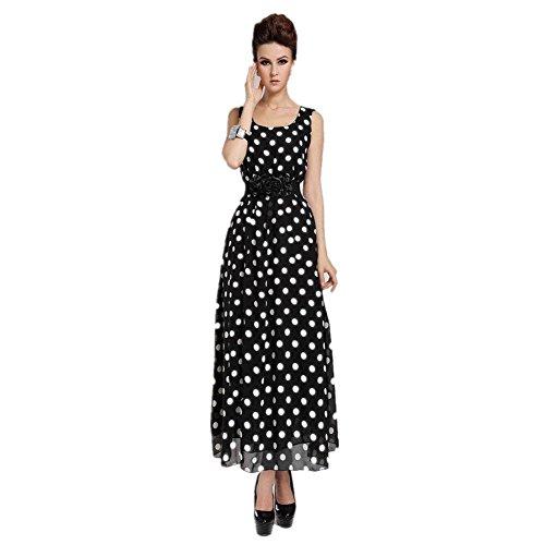 Vestito Mare Lungo - Feelme Donna Pois Tasca Boemia Abito da Sera del Partito Vestiti Estivo Elegante Taglia L
