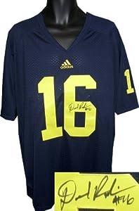 Denard Robinson signed Michigan Wolverines Adidas Blue Jersey XL (front sig)