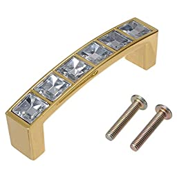 KINGSO Modern Square Acrylic Decorated Cabinet Drawer Cupboard Wardrobe Door Handle Pull 64mm Gold