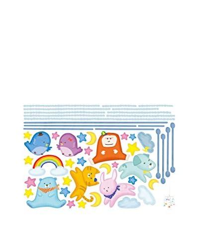 Ambiance Live Vinilo Decorativo Sustended animals baby Multicolor