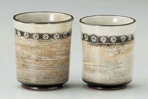 Kobiki-Shino 3Inches Pair Of Tea Cups Tohki Japanese Pottery