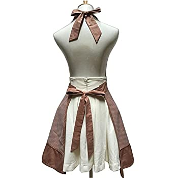 Lovely Sweetheart Retro Kitchen Aprons Woman Girl Cotton Cooking Salon Pinafore Vintage Apron Dress with Pocket,Brown