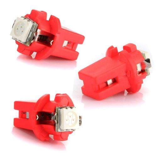 10Pcs Red T5 B8.5D 5050 Led Car Gauge Lamp Light Bulb