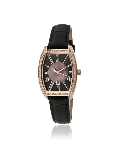 Lucien Piccard Women's 10030-YG-01 Grivola Ortlet Black Mother of Pearl & Textured Dial Crystal-Acce...