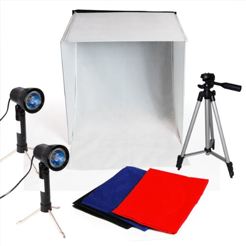 LimoStudio Photography Photo Studio Lighting Kit Set Photo Studio Light Box, 2 x High Output Lights, 4 x Chromakey Backgrounds, 1 x 41-Inch Camera Tripod, AGG778