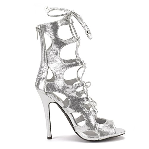 DREAM PAIRS TIGRESS Women's Sexy Lace Up Gladiator High Heel Sandals New Silver-Suede Size 10