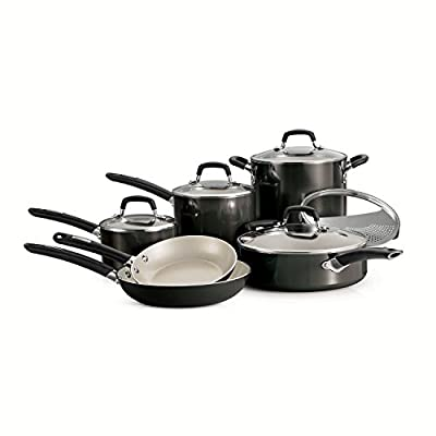 Tramontina Ceramic 11-piece Deluxe Cookware Set, Metallic Gray