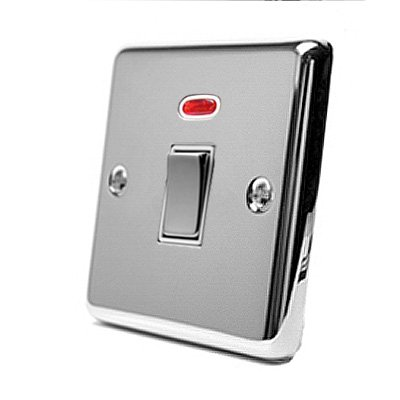 20A Double Pole Switch - Polished Chrome - Classic - White Insert Metal Rocker Switch - w/ Neon Indicator