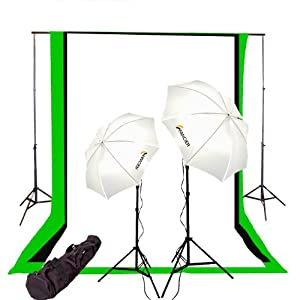 CowboyStudio Photography Video Studio Lighting Light Kit with 3 Muslins Backdrop Black White Green 6' x 9' and Background Support System Background Stand