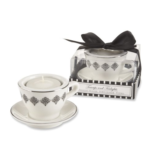 Kate Aspen Teacups And Tealights Ceramic Holder, Black Damask Design