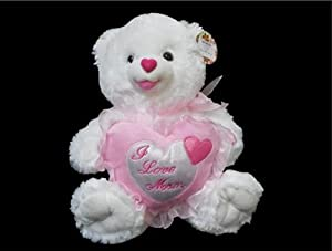 I Love Mom Plush White Teddy Bear with Pink Heart - Plays Music and Says I Love You - 12""