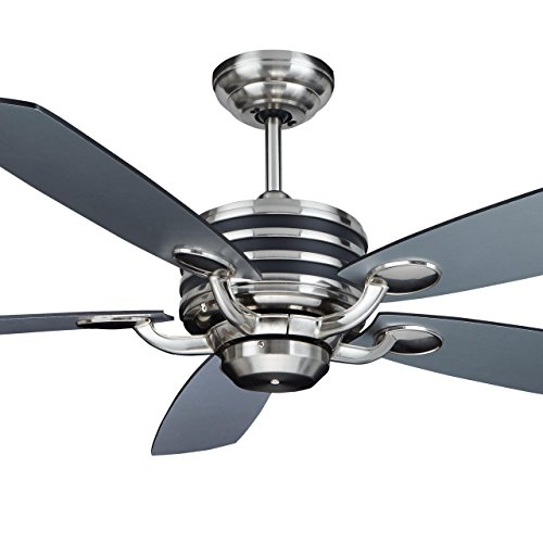 Manteo 52 Quot Dc Motor Indoor Downrod Mount Ceiling Fan With Remote Brushed Nickel Home Garden