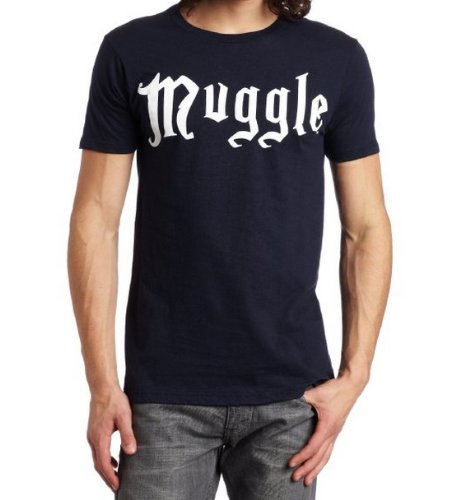 Bioworld Men's Muggle Tee, Navy Blue, Small
