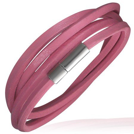 Urban Woman Pink Leather Wrap Style Bracelet For Women