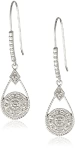 Sterling Silver Diamond Accent Round Drop Euro Wire Earrings