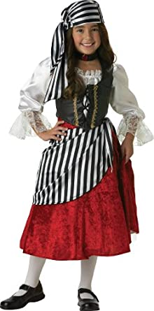 InCharacter Costumes, LLC Girls 7-16 Pirate Mid-Length Dress Set, Black/Red, 10