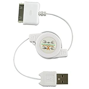 Retractable Sync & Charge USB Cable for Apple iPad (White)