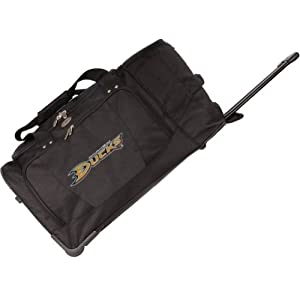 NHL Anaheim Ducks Denco 27-Inch Drop Bottom Rolling Duffel Luggage, Black