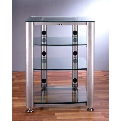 Cheap HGR Series 4-Shelf 26″ TV Stand and Audio Rack Pole Color: Gray Silver, Glass: Clear (HGR-404S)