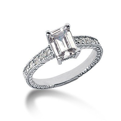 0.65 Ct Diamond Engagement Ring 14k White Gold Emerald Cut Antique Style SI3 H