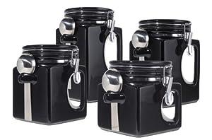 amazon com oggi ez grip handle ceramic 4 piece canister