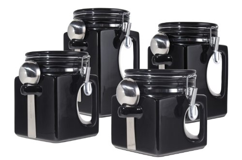 Oggi EZ Grip Handle Ceramic 4 Piece Canister Set, Black