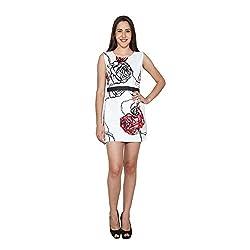 CJ15 White Lycra Sleeveless Dress For Women
