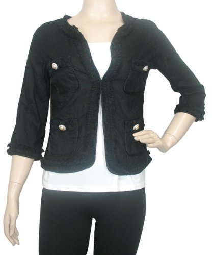 Linen Pearl Button Ruffle Jacket in Black by Karen Kane (S)