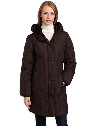 (新低)Larry Levine Women's Hooded Down Jacket女式长款羽绒服,2色$34.31未更新