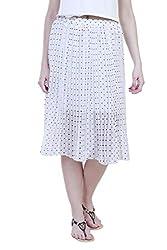 Showoff Women's White Chiffon Calf-length Skirt