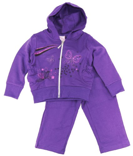 Coney Island Baby Girls Butterfly 2Pc Micro Polar Hoodie Fleece 12Mviolet front-186973