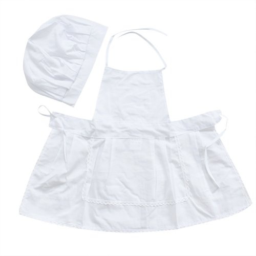 White Newborn Infant Hat Apron Cute Baby Cook Costume Photos Photography Prop
