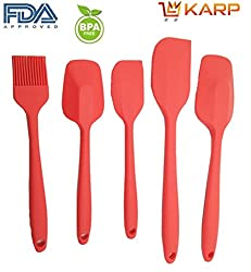"KARPâ""¢ Home Kitchen Tools - Food Grade Silicone Complete Cooking Spatula Set of 5 : Including 1 Small Shovel/1 Small Spatula/1 brush & Two large spatula/shovel - Non-Stick, FDA, Heat Resistant, BPA Free,BPA free, FDA approved, 100% food grade silicone- Red"