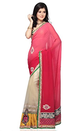 Amyra By Odhni Womens Red-Gold Georgette Saree (multicolor)